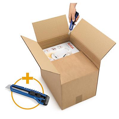 Caisse carton brune simple cannelure à hauteur variable