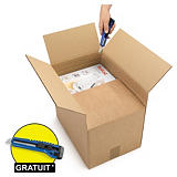Caisse carton brune simple cannelure à hauteur variable