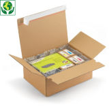 Caisse carton brune simple cannelure à montage instantané et fermeture adhésive RAJA