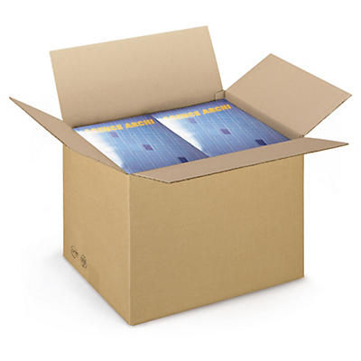 Caisse carton brune simple cannelure RAJABOX longueur 40 à 49 cm