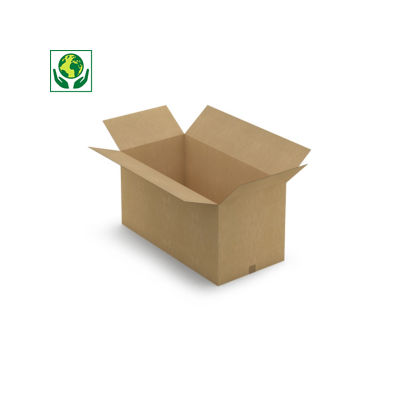 Caisse carton brune simple cannelure RAJABOX longueur 70  à 150 cm