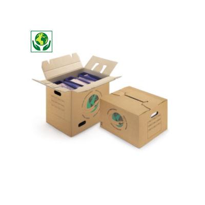 Caisse carton de déménagement double cannelure avec poignées et montage rapide