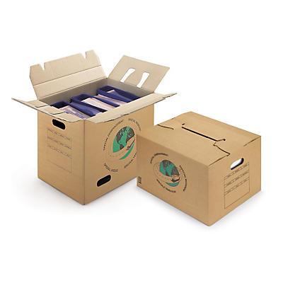 Caisse carton de déménagement à poignées et à fond semi-automatique##Umzugskarton mit Tragegriffen, 2-wellig