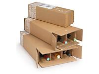 Caisse carton d'expédition pour bouteilles avec croisillons renforcés à montage manuel