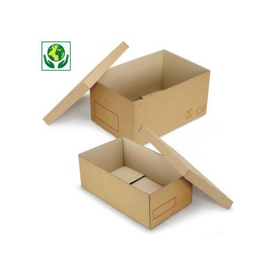 Caisse carton Galia double cannelure avec couvercle