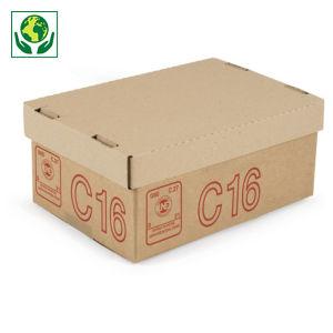Caisse carton Galia simple cannelure avec couvercle