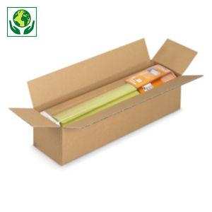 Caisse carton longue simple cannelure à grande ouverture RAJA longueur 50 à 90 cm