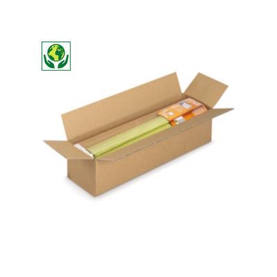 Caisse carton longue simple cannelure à grande ouverture RAJABOX longueur 50 à 90 cm