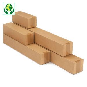 Caisse carton longue simple cannelure à montage instantané longueur 31 à 100 cm
