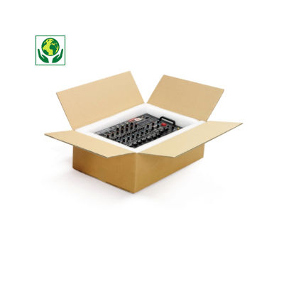 Caisse carton Platibox brune double cannelure