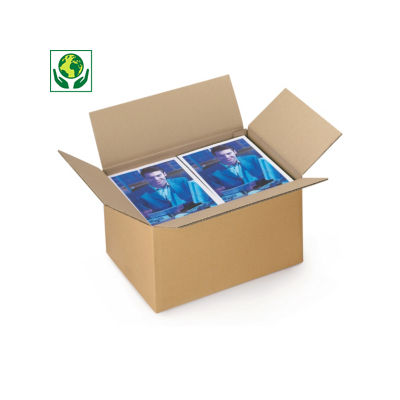 Caisse carton Rajabox brune simple cannelure de 40 à 50 cm