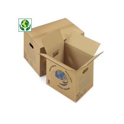 Caisse carton simple cannelure avec poignées