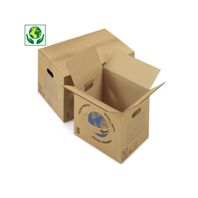 Caisse carton simple cannelure avec poignées##Enkelgolf doos met handgrepen