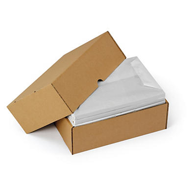 Caisse carton télescopique brune/blanche simple cannelure RAJABOX formats A5/A6/A7