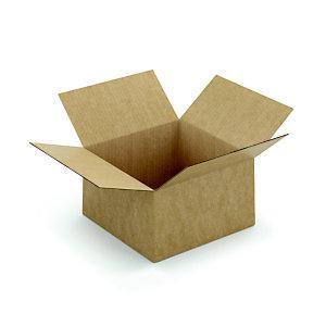 Caisse à montage instantané en carton simple cannelure brun - L.int. 25 x l.25 x h.15 cm