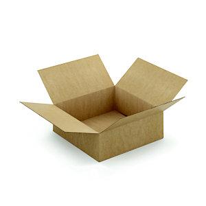 Caisse à montage instantané en carton simple cannelure brun - L.int. 40 x l.40 x h.15 cm