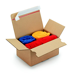 Caisse à montage instantané et fermeture adhésive en carton simple cannelure brun - L.int. 16 x l.13 x H.7 cm