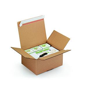 Caisse à montage instantané et fermeture adhésive en carton simple cannelure brun - L.int. 26 x l.22 x H.13 cm