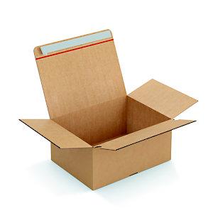 Caisse à montage instantané et fermeture adhésive en carton simple cannelure brun - L.int. 39 x l.29 x H.18 cm