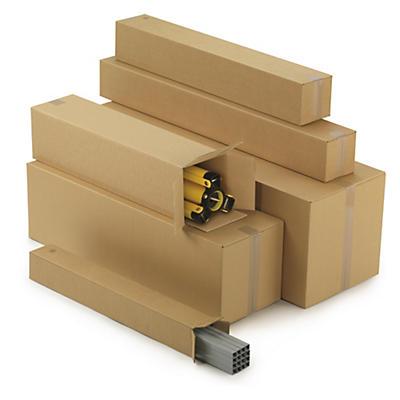 Caisse Teckelbox pour produits longs##Lange Kartons mit Öffnung an der Stirnseite, 2-wellig