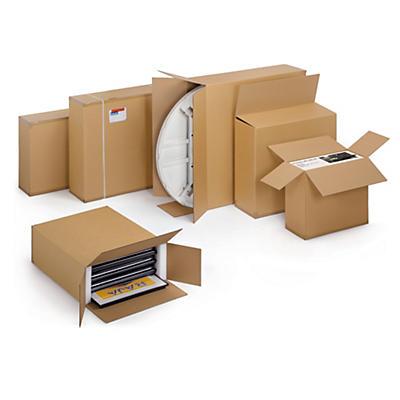 Caisses carton double cannelure pour produits plats et hauts##Kartons für grosse, flache Produkte, 2- wellig