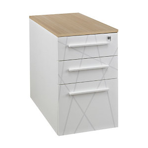 Caisson hauteur bureau Vitaly 3 tiroirs Top chêne, Corps et façades Blanc Prof. 80 cm