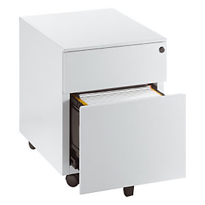 Caisson mobile 2 tiroirs métal NF Environnement Blanc - H.55,5 x L. 42 x P. 53 cm