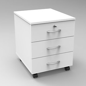 Caisson mobile Bois Starting 2 - Blanc, 3 tiroirs