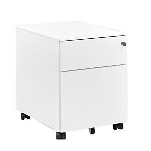 Caisson mobile métal Vitaly 2 tiroirs,  Blanc Prof. 54 cm