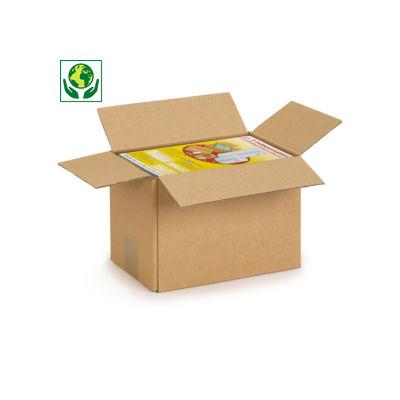 Caixa de cartão cúbica canelado fino castanha RAJA
