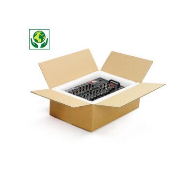 Caixa de cartão plana castanha canelado duplo