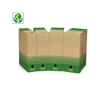 Caixa para arquivo castanha e verde reciclada RAJA
