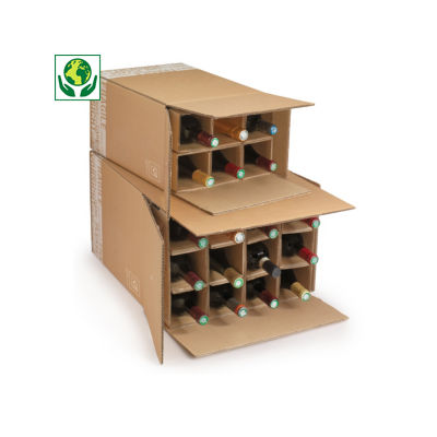 Caixa para envio de garrafas com divisórias reforçadas