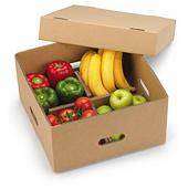 Caixa para expedição de frutas e legumes com tampa e divisórias