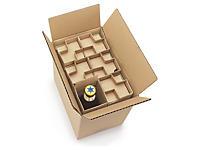 Caixa para expedição de garrafas de 33 cl com proteção interior