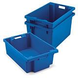 Caixa de plástico empilhável e encaixável