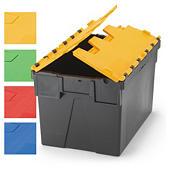 Caixa de plástico reciclável com tampa colorida