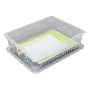 Caja de almacenamiento de plástico con tapa apilable transparente 11 l