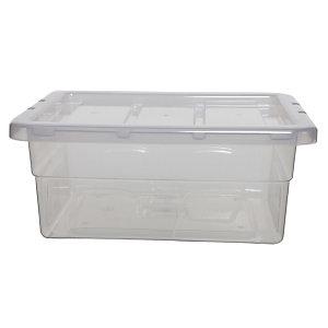 Caja de almacenamiento de plástico con tapa apilable transparente 15 l