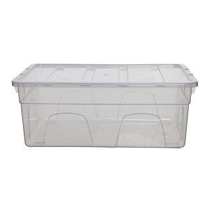 Caja de almacenamiento de plástico con tapa apilable transparente 28 l