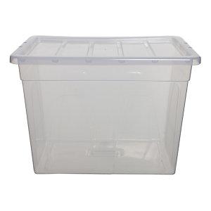 Caja de almacenamiento de plástico con tapa apilable transparente 64 l