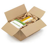 Caja de cartón montaje instantáneo canal doble