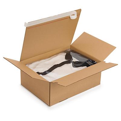 Caja de cartón montaje instantáneo y cierre adhesivo canal simple