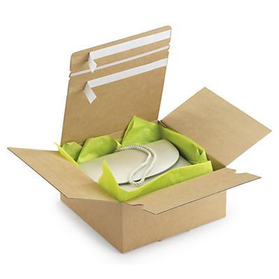 """Caja de cartón montaje instantáneo y doble cierre adhesivo """"ida y vuelta"""""""