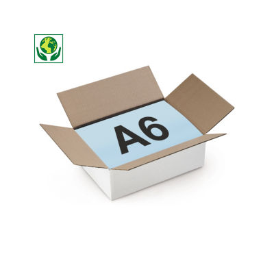 Caja de cartón plana canal simple blanca