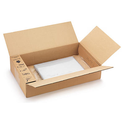 Caja con sistema de retención film
