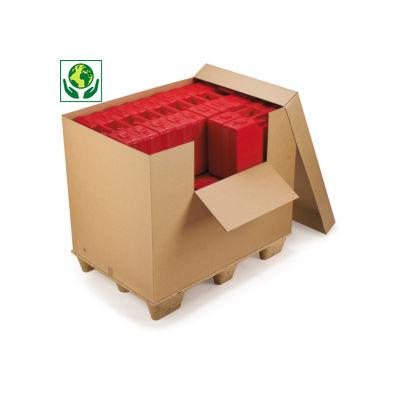 Caja contenedor de cartón con apertura frontal y tapa