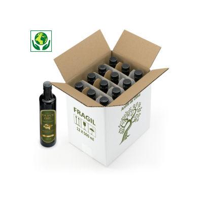Caja para aceite de oliva con impresión FRÁGIL y motivo olivo
