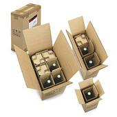 Caja para botellas con celdas de protección