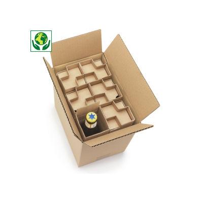 Caja para expedición de botellas de 33 cl con protección interior